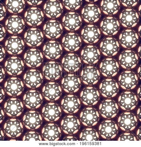 Abstract modern futuristic pattern with glowing spheres 3d rendering