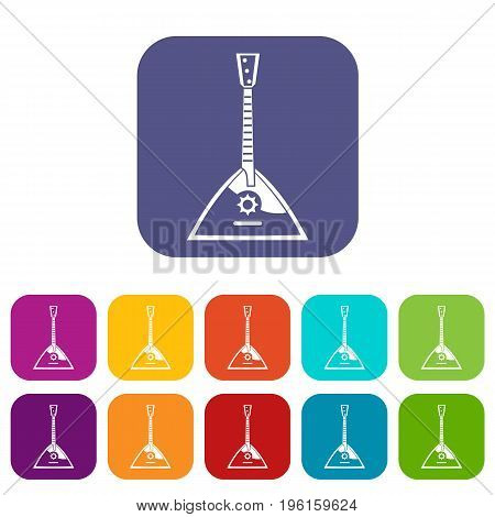 Balalaika icons set vector illustration in flat style in colors red, blue, green, and other