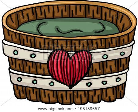Scalable vectorial image representing a wooden tub for a bath with heart, isolated on white.