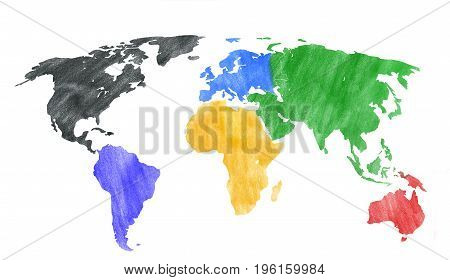 Hand drawn look of a world map with colored continents