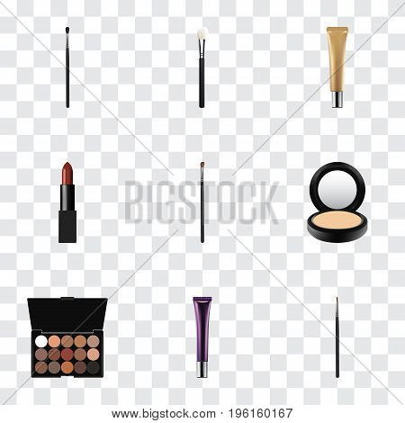 Realistic Make-Up Product, Collagen Tube, Pomade And Other Vector Elements
