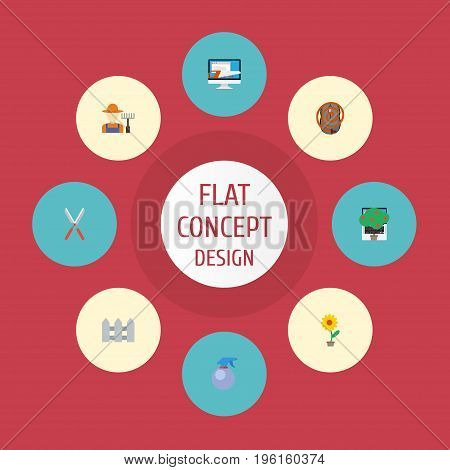 Flat Icons Fence, Flowerpot, Grower And Other Vector Elements