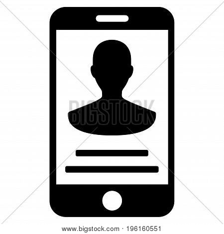 Mobile Person Details vector icon. Flat black symbol. Pictogram is isolated on a white background. Designed for web and software interfaces.