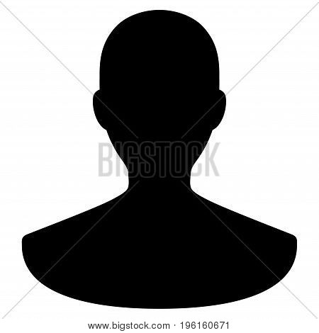 Person vector icon. Flat black symbol. Pictogram is isolated on a white background. Designed for web and software interfaces.