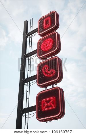 Communication and contact concept with four neon signs (3D Rendering)