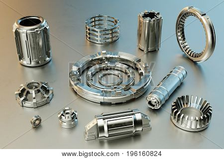Modern accessories from CNC milling for metalworking process (3D Rendering)