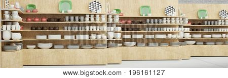 Kitchen equipment retail shop with many dishes as panorama (3D Rendering)