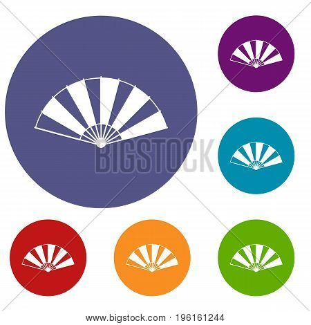 Chinese fan icons set in flat circle red, blue and green color for web