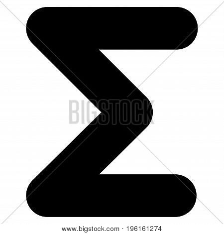 Sum vector icon. Flat black symbol. Pictogram is isolated on a white background. Designed for web and software interfaces.