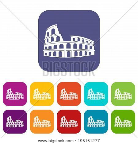 Roman Colosseum icons set vector illustration in flat style in colors red, blue, green, and other