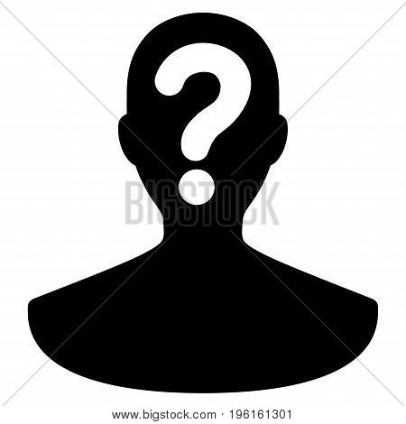Unknown Person vector icon. Flat black symbol. Pictogram is isolated on a white background. Designed for web and software interfaces.