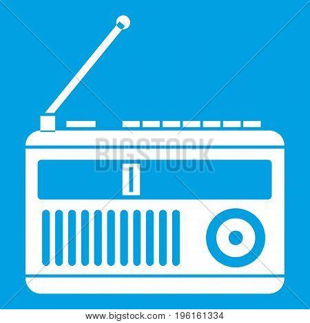 Retro radio icon white isolated on blue background vector illustration