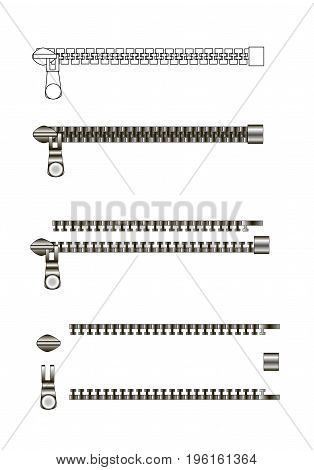 Zipper variation isolated on white background. Zipper construction.