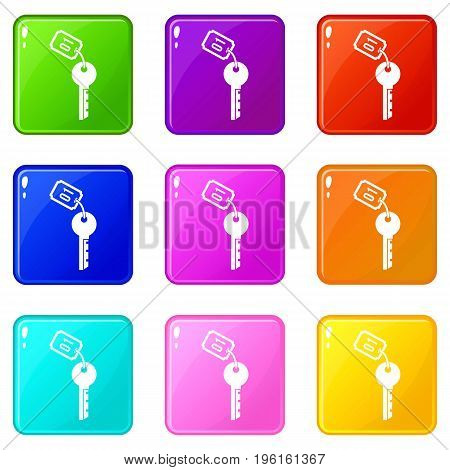 Hotel key icons of 9 color set isolated vector illustration