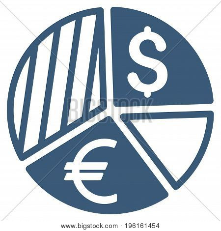 Currency Pie Chart vector icon. Flat blue symbol. Pictogram is isolated on a white background. Designed for web and software interfaces.