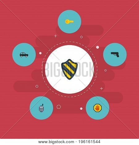 Flat Icons Armored Car, Walkie-Talkie, Gun And Other Vector Elements