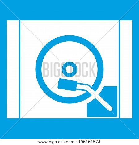 Turntable icon white isolated on blue background vector illustration