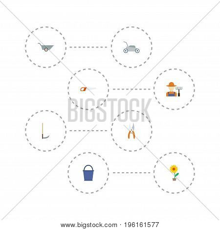 Flat Icons Pruner, Bucket, Wheelbarrow And Other Vector Elements