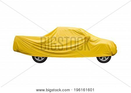 Yellow pickup cover For protection against sun rain and dust isolated on white background.