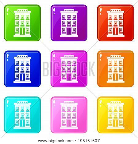 Hotel building icons of 9 color set isolated vector illustration
