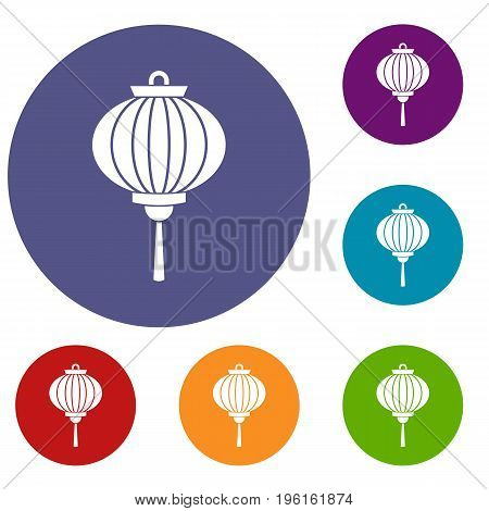 Chinese lantern icons set in flat circle red, blue and green color for web