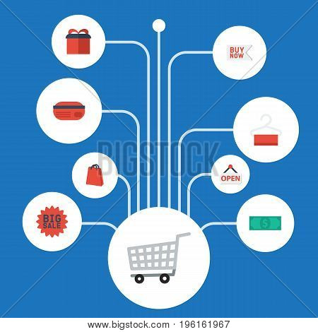 Flat Icons Sign, Trolley, Pouch And Other Vector Elements