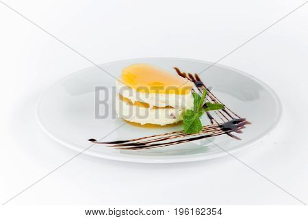 The dessert or cake on a white plate background.