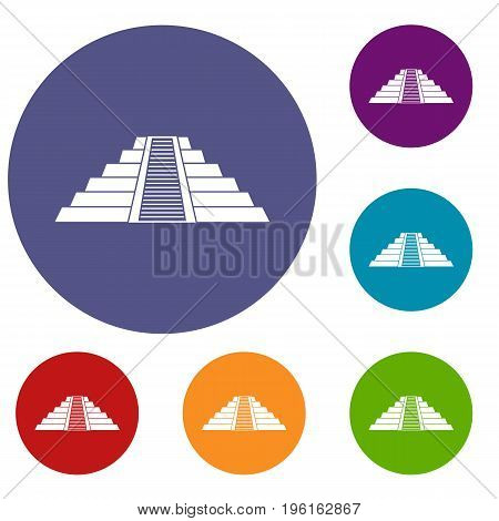 Ziggurat in Chichen Itza, Yucatan icons set in flat circle red, blue and green color for web