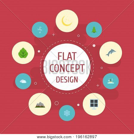 Flat Icons Night, Playful Fish, Electric Mill And Other Vector Elements
