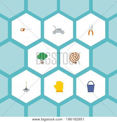 Flat Icons Green Wood, Bucket, Latex And Other Vector Elements