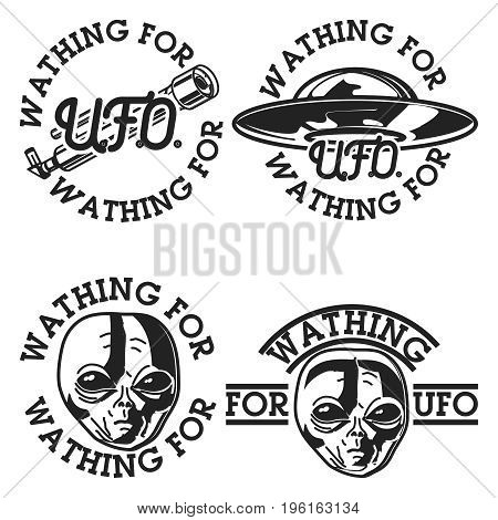 Color vintage UFO emblems, labels, badges and design elements. Vector illustration, EPS 10