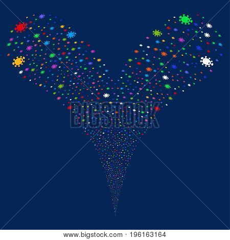 Bacteria salute stream. Vector illustration style is flat bright multicolored iconic bacteria symbols on a blue background. Object fountain done from random design elements.