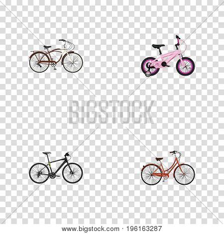 Realistic Hybrid Velocipede, Retro, Journey Bike And Other Vector Elements