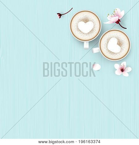 op view of cappuccino coffee with heart shape  in white cup cherry blossom flowers fall on sweet blue wooden background. Vector illustration.