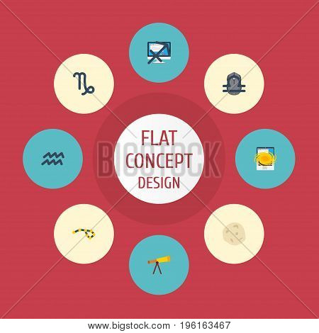 Flat Icons Horoscope, Water Bearer, Scales And Other Vector Elements