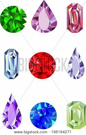 Different gemstones element, glossy, jewelry, blue, sapphire, bright