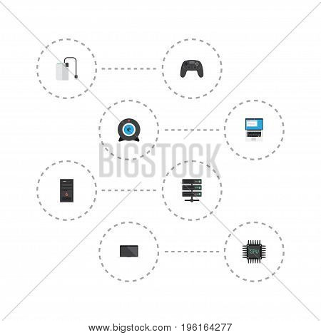 Flat Icons Monitor, Datacenter, Web Cam And Other Vector Elements