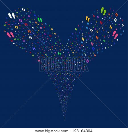 Boot Footprints fireworks stream. Vector illustration style is flat bright multicolored iconic boot footprints symbols on a blue background. Object fountain made from random pictograms.
