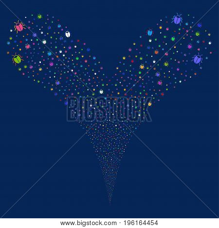 Bug salute stream. Vector illustration style is flat bright multicolored iconic bug symbols on a blue background. Object fountain done from random design elements.