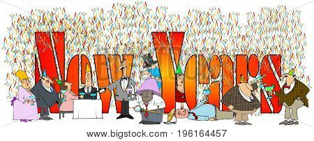 Illustration of the words New Years with assorted drinking and partying men and women.