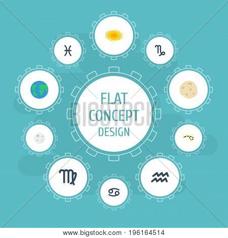 Flat Icons Water Bearer, Lunar, Virgin And Other Vector Elements