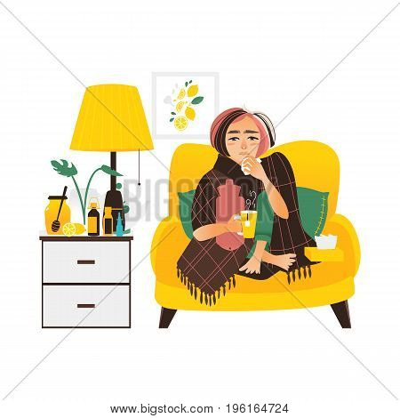 Woman having flu, sitting sick at home, wrapped in blanket, using paper tissues, flat vector illustration isolated on white background. Flat woman having flu sitting at home, sofa, bedside table