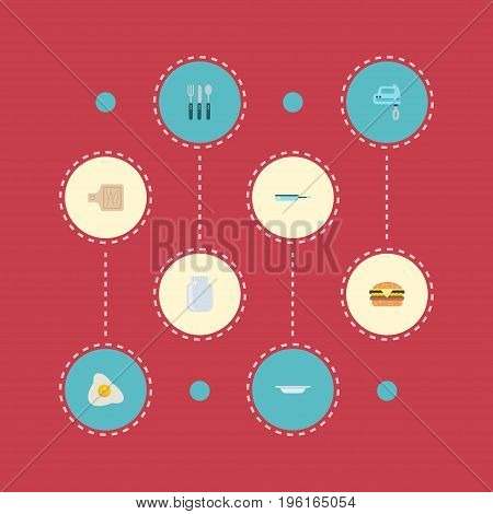 Flat Icons Breadboard, Omelette, Skillet And Other Vector Elements