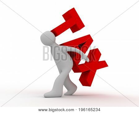 tax concept man and word tax . 3d rendered illustration