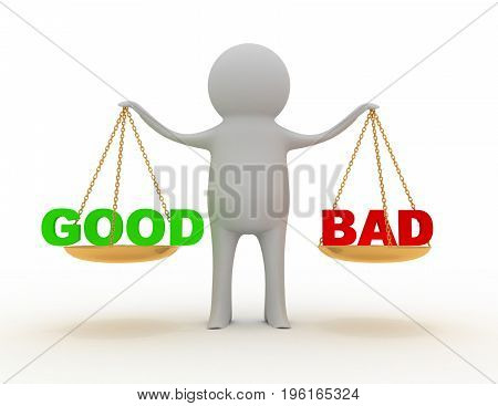 good or bad . 3d rendered illustration