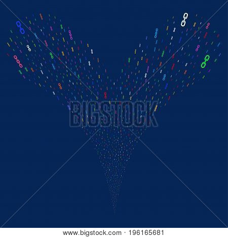 Chains fireworks stream. Vector illustration style is flat bright multicolored iconic chains symbols on a blue background. Object fountain constructed from random pictograms.