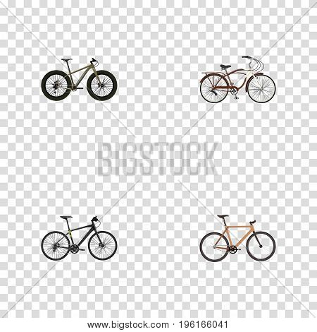 Realistic Hybrid Velocipede, Timbered, Bmx And Other Vector Elements