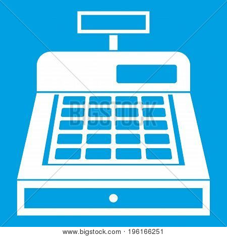 Cash register icon white isolated on blue background vector illustration