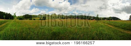 Panoramatic view of meadows and forests in Czech Switzerland