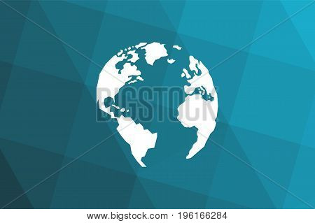 Triangular blue black gradient background. Lowpolygonal White globe. America Europe Atlantic Ocean. Vector illustration. Eps10.